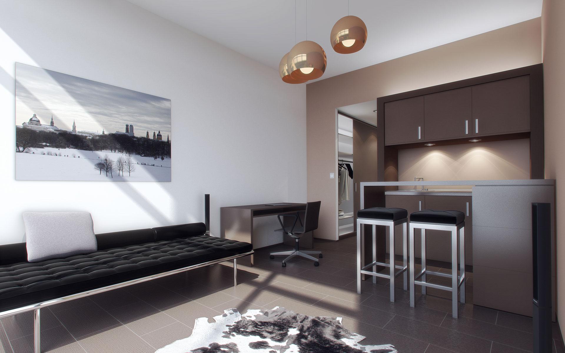 Interior design single apartments munich labor weltenbau for Interior design munich
